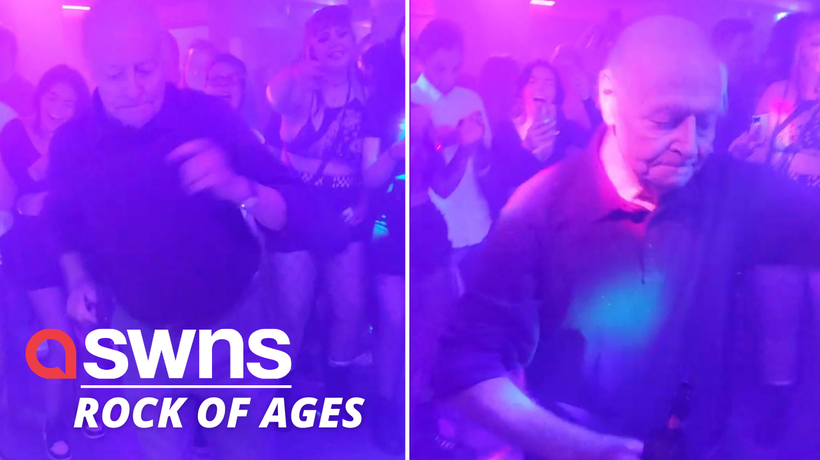 This elderly man dancing to METAL music at a UK rock bar proves that age is just a number