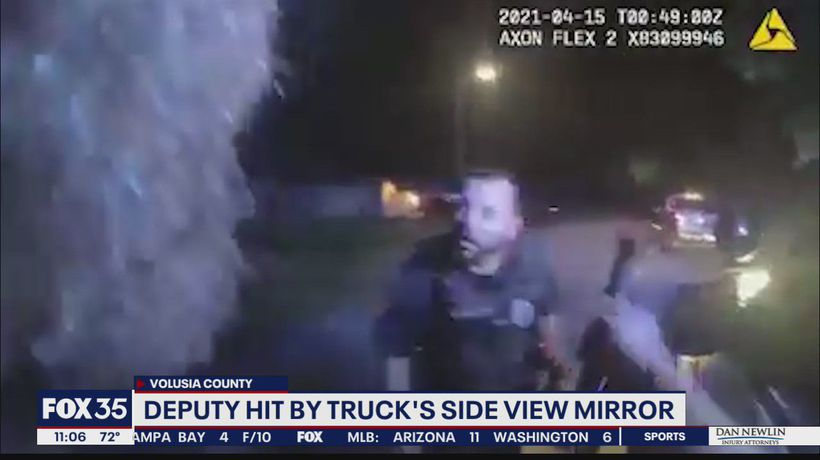 Volusia deputy clipped by truck during traffic stop