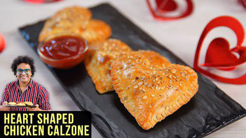 Chicken Calzone Recipe How To Make Chicken Calzone In Oven Valentine's Day Special Recipe