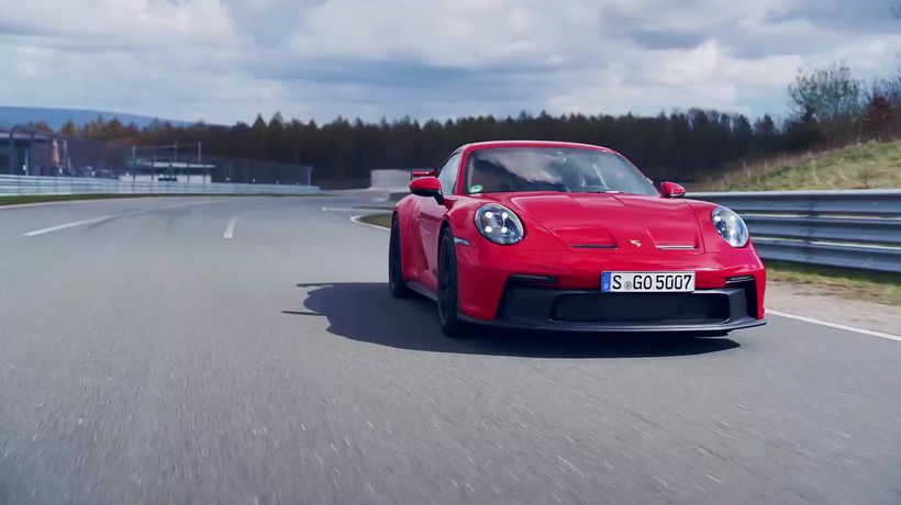 The new Porsche 911 GT3 in Guards Red Driving Video