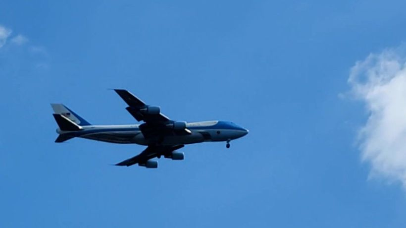 Air Force One roars over London after Biden departs G7