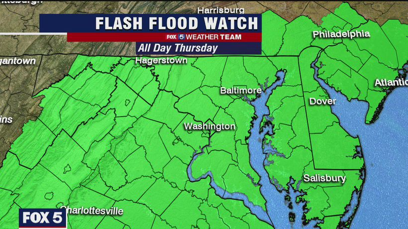 More storms possible Thursday; Flash Flood Watch for DC region