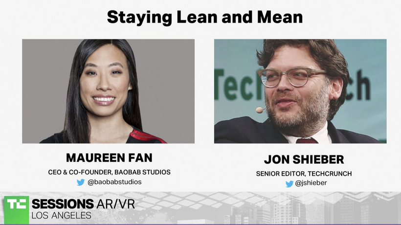 Staying Lean and Mean with Maureen Fan (BaoBab Studios) | TC Sessions AR/VR 2018