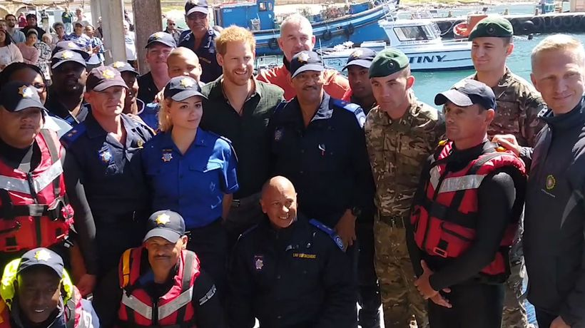 The Duke of Sussex meets the City of Cape Town, Marine Unit, trained by Royal Marines