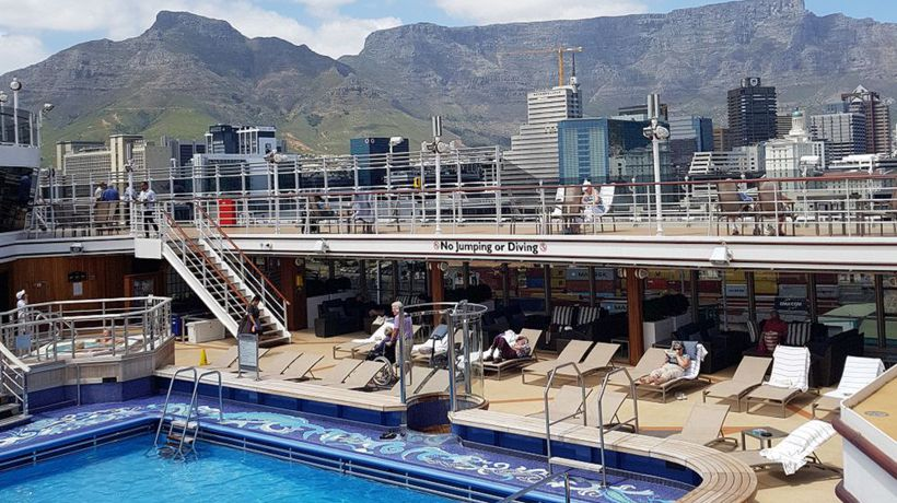 The view from the Queen Elizabeth cruise liner 'rooftop' might be the best in Cape Town