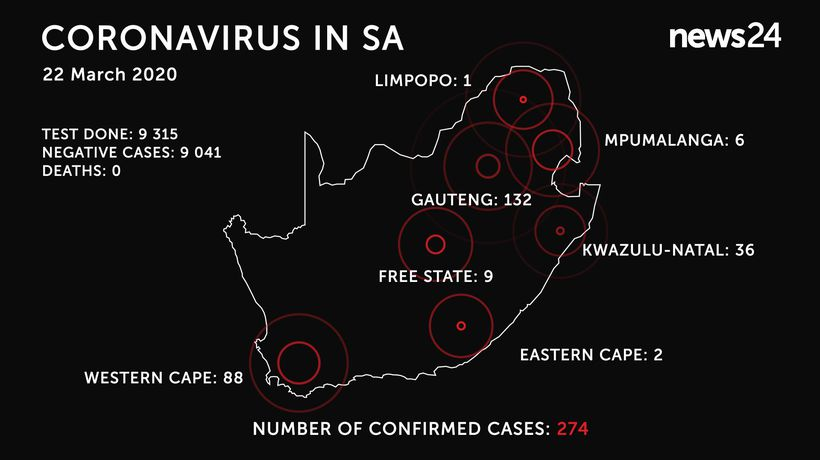 WATCH | 22 March: Number of coronavirus cases in SA reaches 274