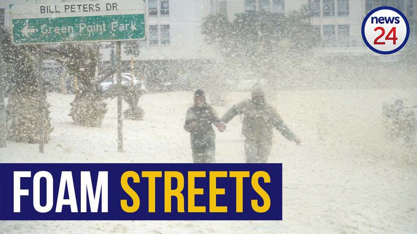 WATCH | Monster winds blow huge puffs of foam off the sea and into Cape Town streets