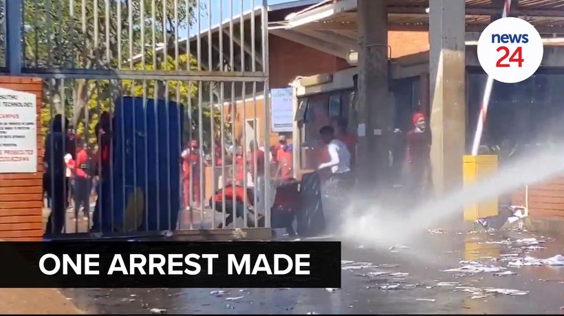 WATCH | One person arrested as police use water cannon to disperse protesting MUT students