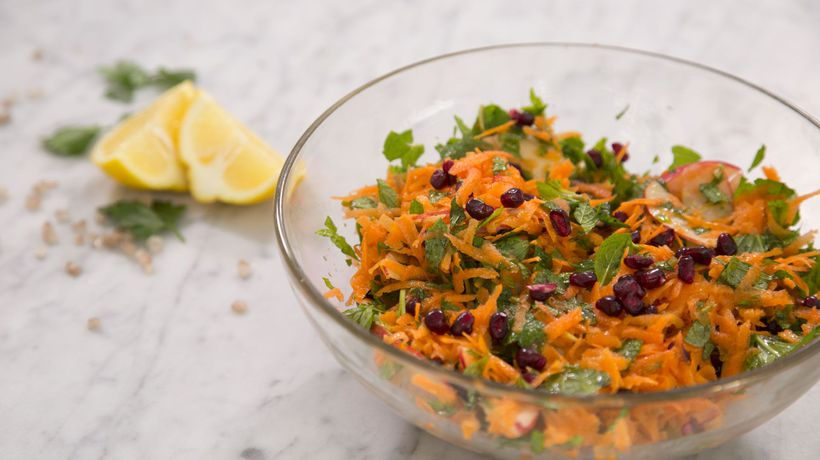 Feel Good Carrot, Mint and Pomegranate Salad