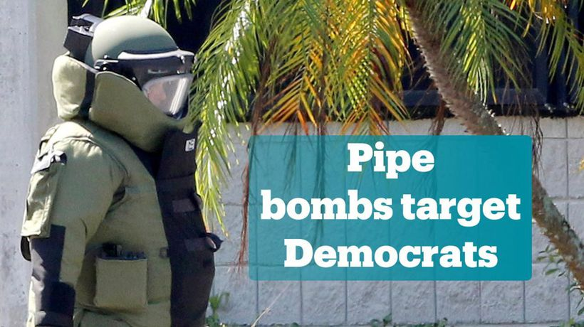 Homemade pipe bombs sent to prominent democrats
