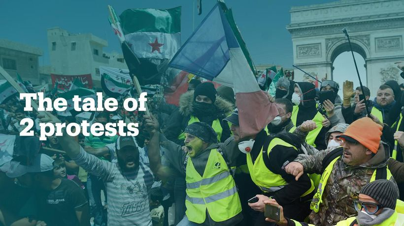 Syrian state media's coverage of protests in France and Syria