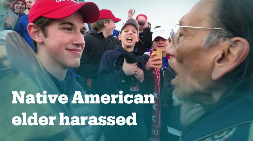 Teenagers harass Native American veteran
