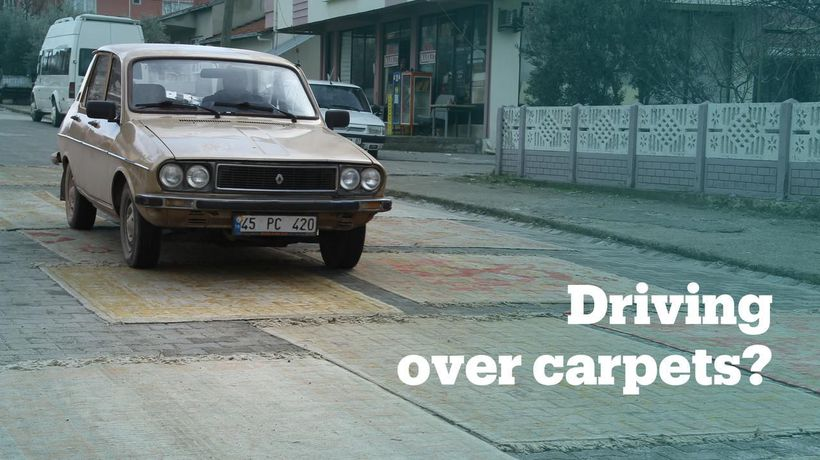 What happens when you drive a car over a hand-knotted carpet?