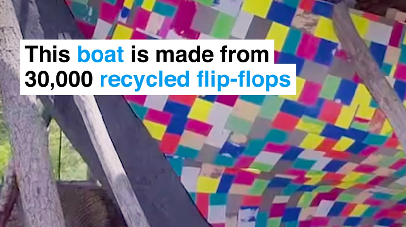 This Sailboat Made Entirely Of Flip Flops Raises Awareness About Plastic Waste