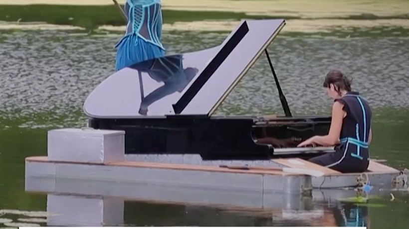 French Pianist & Singer Perform On Lake During COVID-19