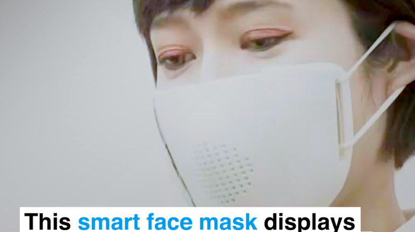 This smart face mask displays your speech as text on a phone