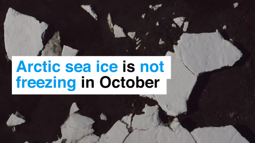 Arctic sea ice is not freezing in October for the first time on record