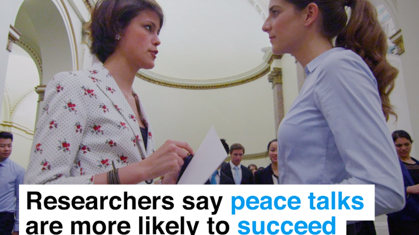 Researchers say peace talks are more likely to succeed if women are involved