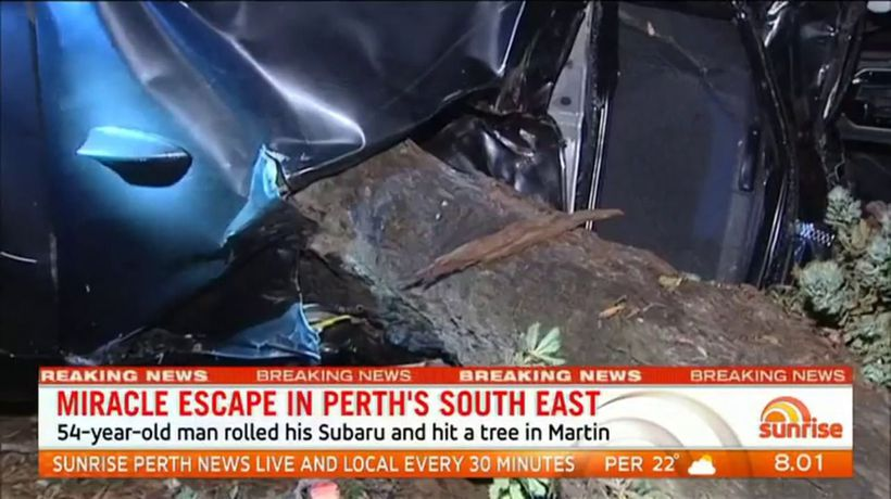 Driver survives terrifying crash in Perth's south