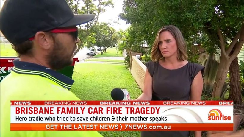 Hero tradie tried to save kids from car fire