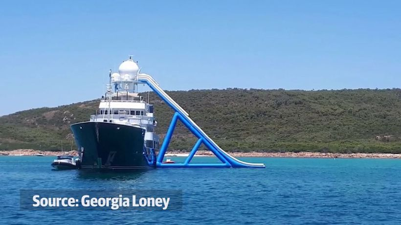 Twiggy's boat and waterslide turn heads in Dunsborough