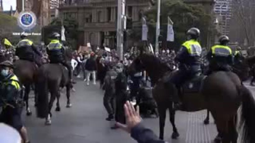 Ugly scenes as NSW Police clash with protesters in Sydney