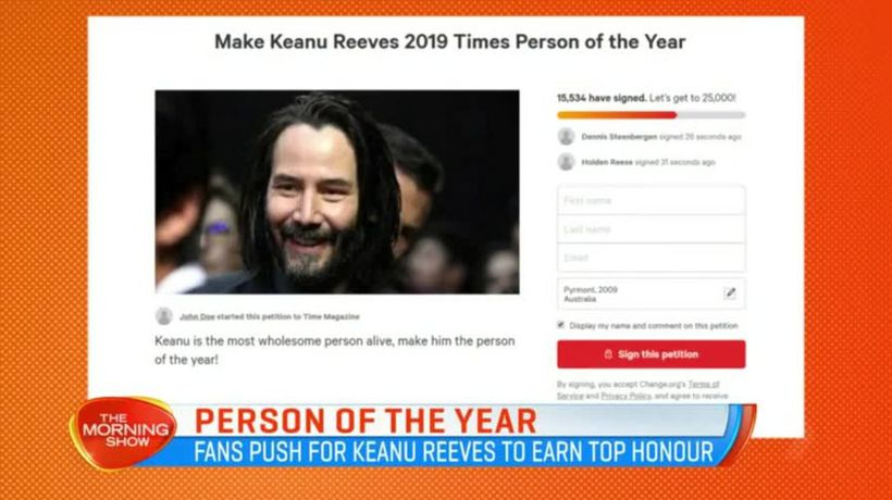 Fans petition to make Keanu Reeves Time Magazine's Person of the Year