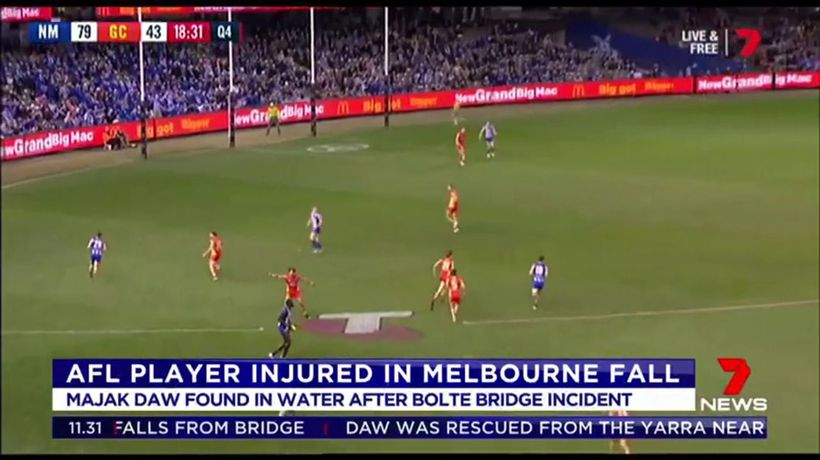 Majak Daw in hospital after falling from bridge