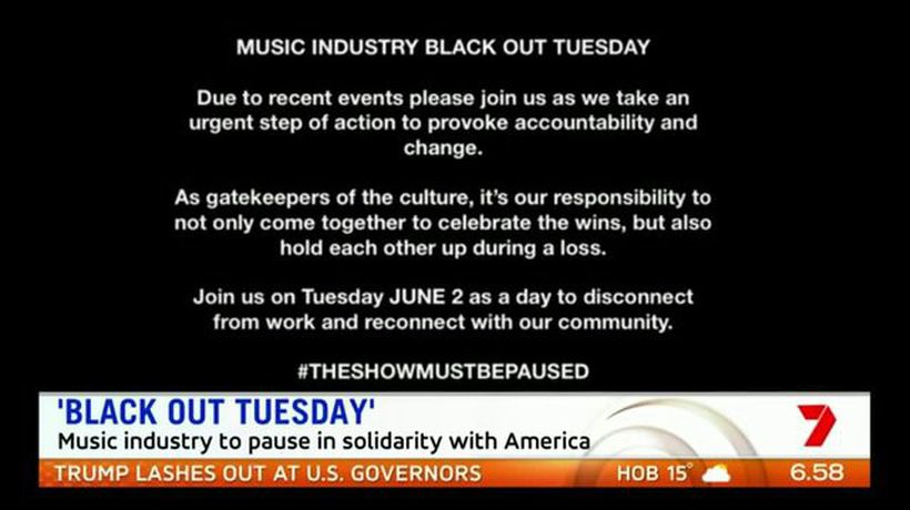 Music declares 'Black Out Tuesday'