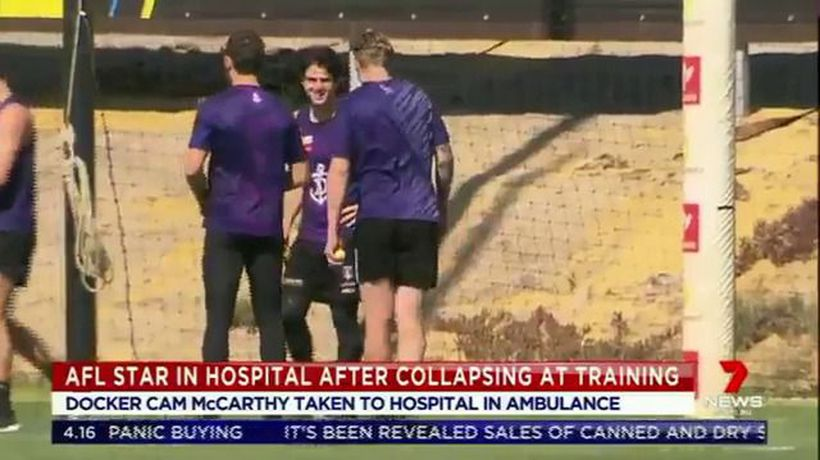 McCarthy taken to hospital after collapse