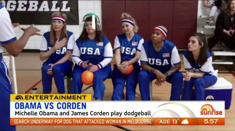 Michelle Obama challenged to dodgeball game