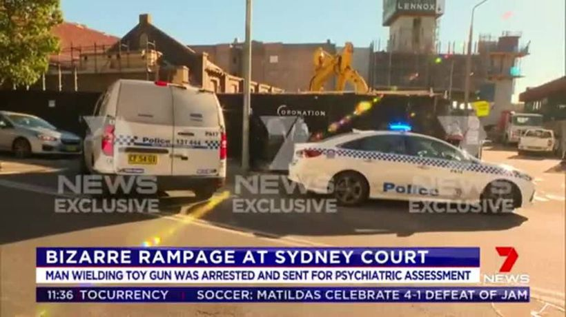Man goes on bizarre rampage with toy gun at Sydney court