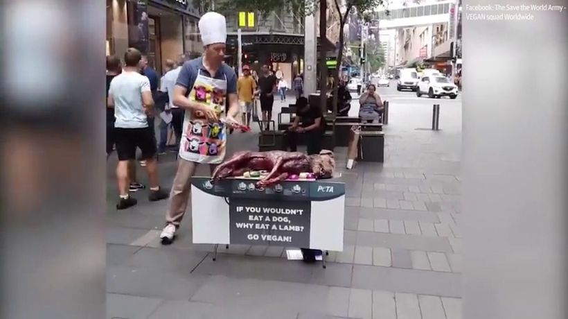PETA slammed for shocking fake barbecued dog stunt
