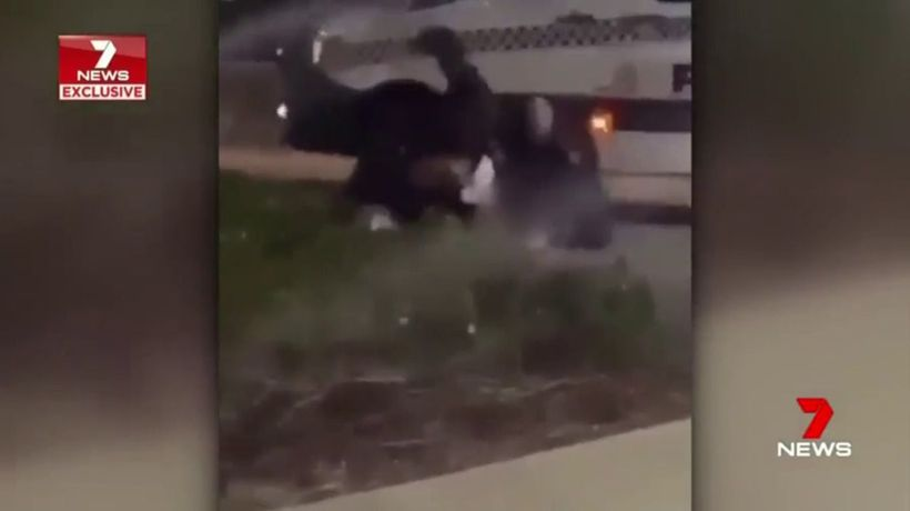 Police officer punching teenager Rockingham