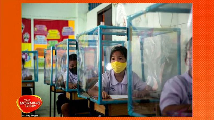 Thai school children taught in plastic boxes