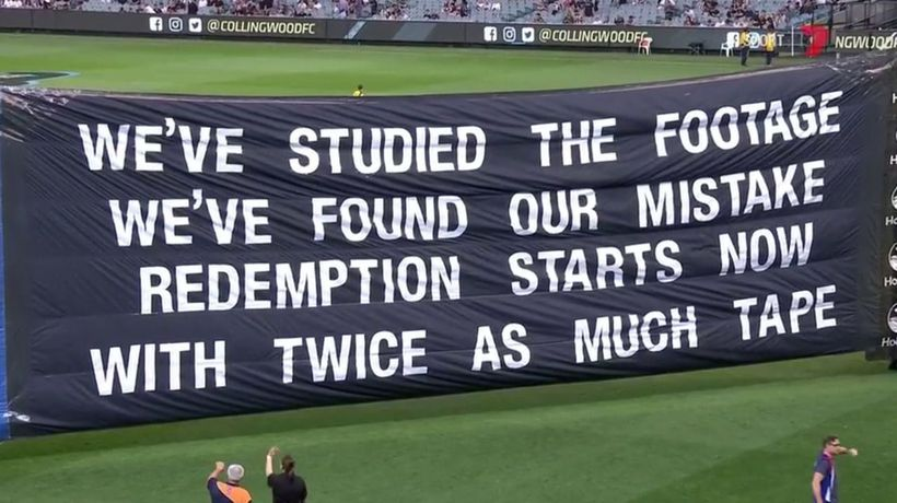 Collingwood poke fun at their GF banner