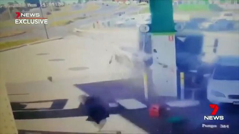 Out of control truck ploughs into petrol station