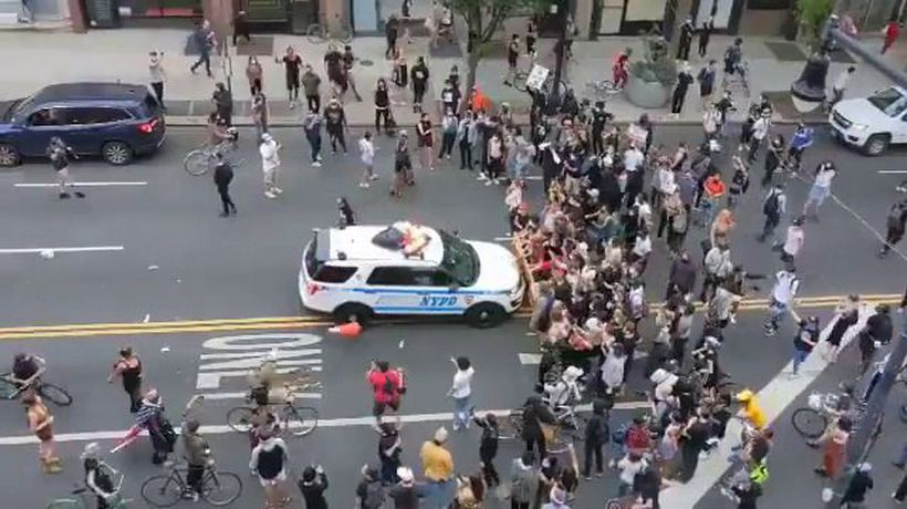 NYPD car rams crowd during George Floyd protests