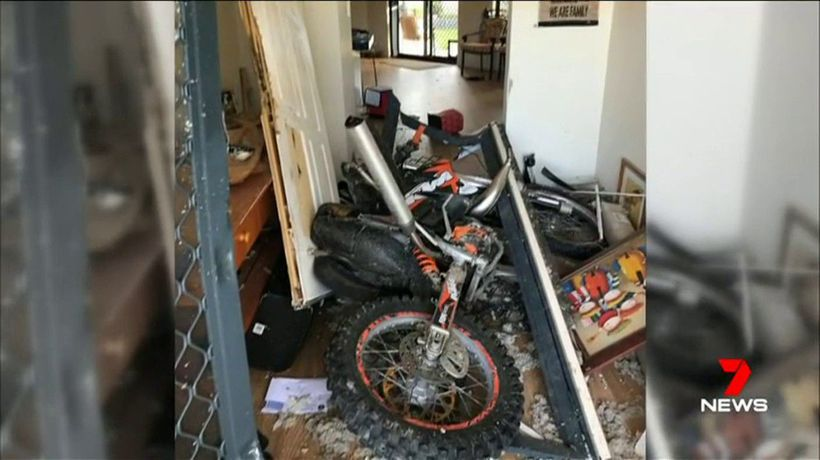 Off-road motorbike smashes through Port Kennedy home