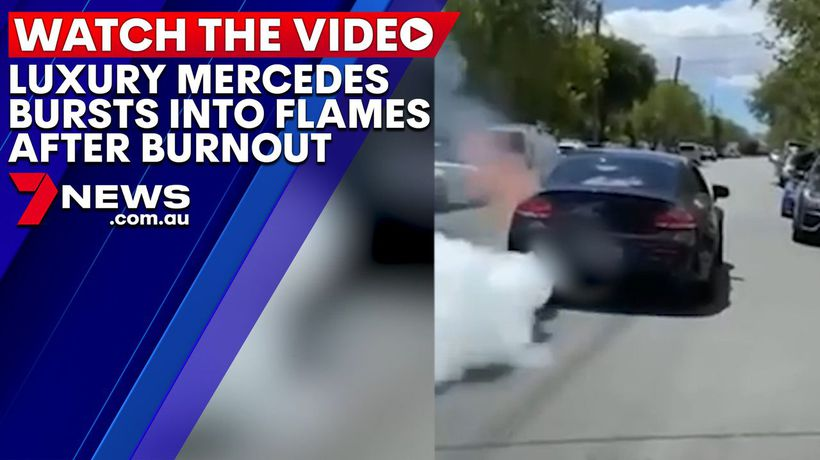 Luxury Mercedes AMG bursts into flames after burnout in Sydney