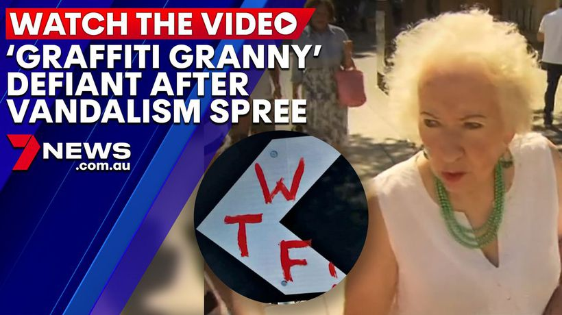 'Graffiti Granny' stands behind vandalism spree in Adelaide street