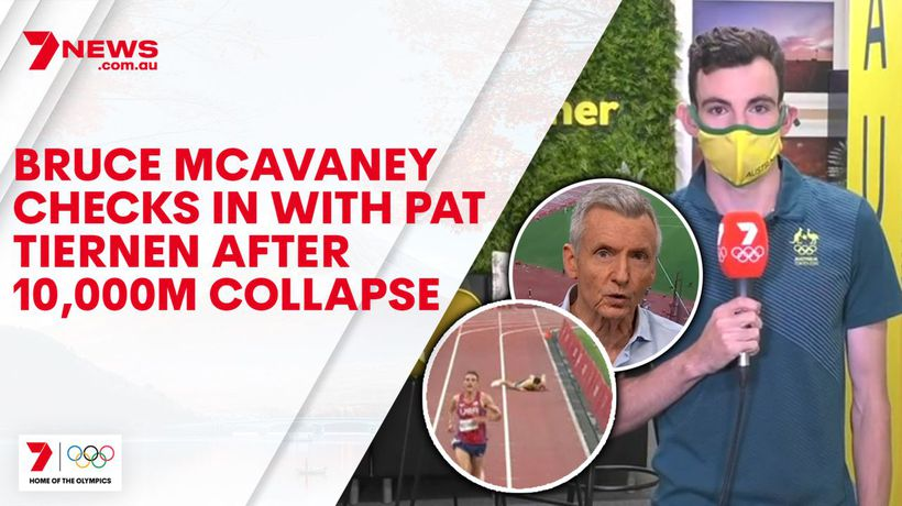 Bruce McAvaney checks in with Pat Tiernen after 10,000m collapse