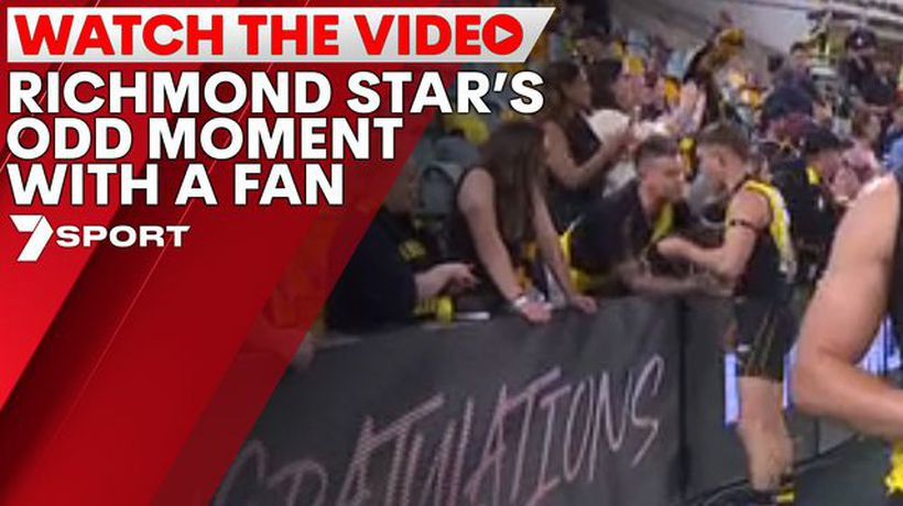 Richmond star captured receiving gift from fan