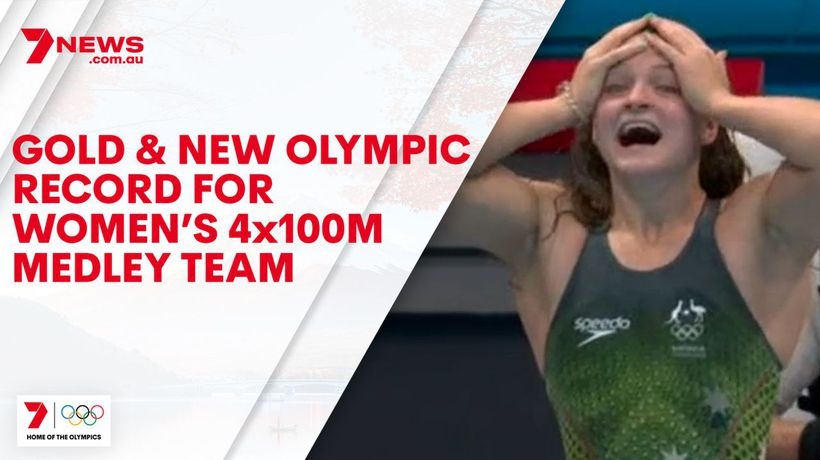 Gold and new Olympic Record for Women's 4x100m Medley team