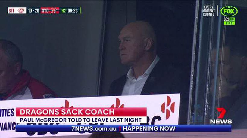 Paul McGregor sacked from Dragons coaching position