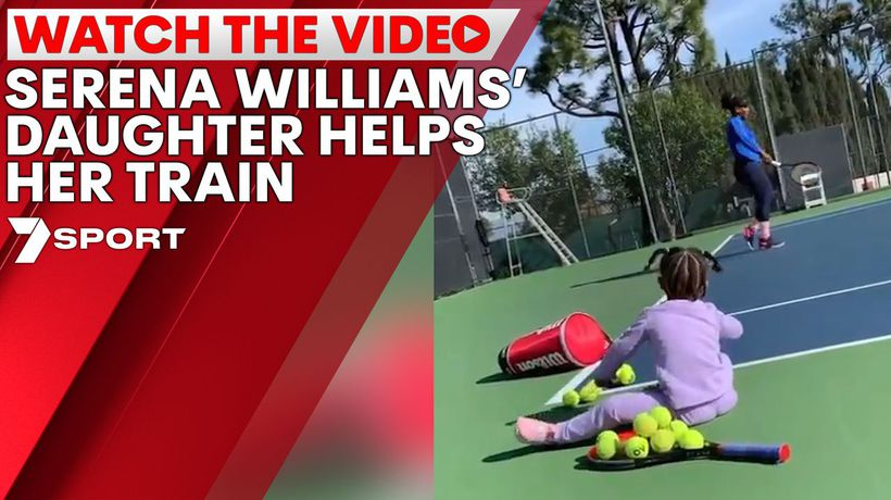 Serena Williams' daughters helps her train for the Australian Open