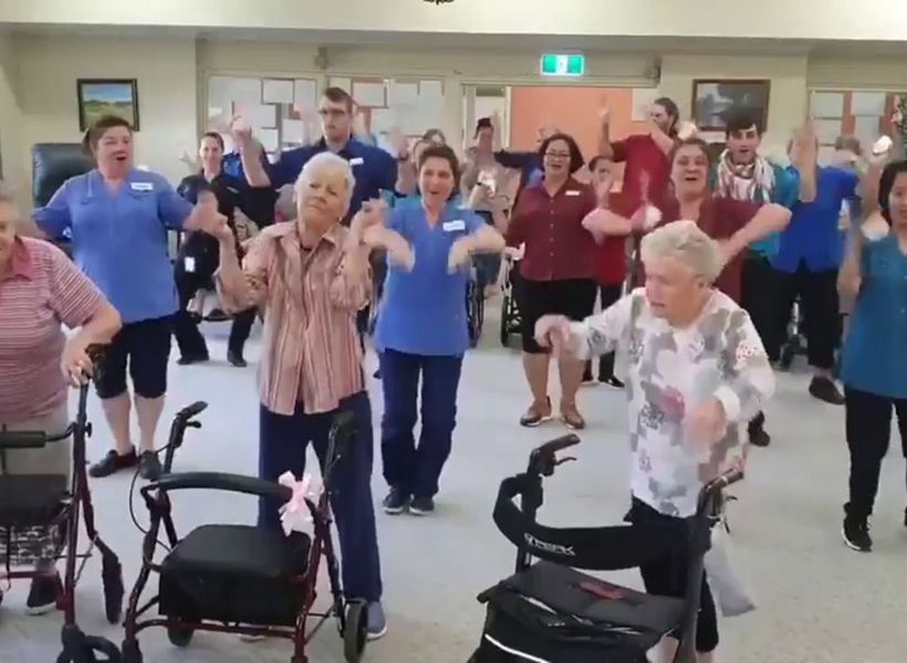 Aged care residents take part in 'Git Up' challenge