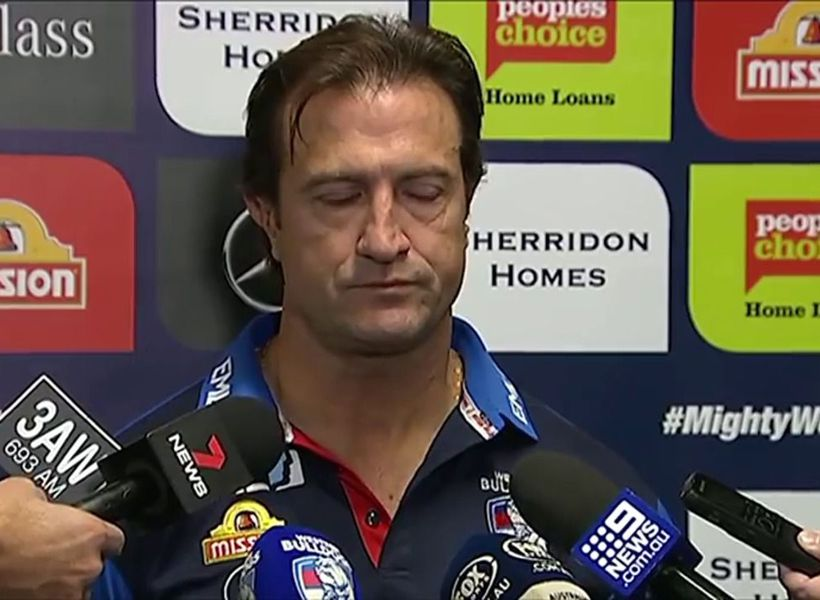 An emotional Luke Beveridge addresses media over Tom Boyd retirement