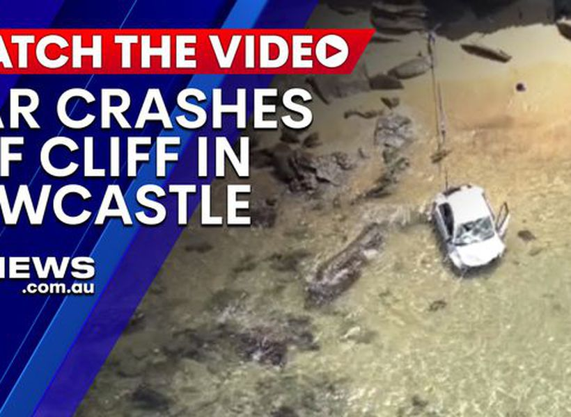 Car crashes off cliff in Newcastle