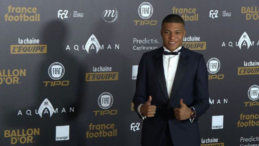 Kylian Mbape on red carpet at Ballon d'Or